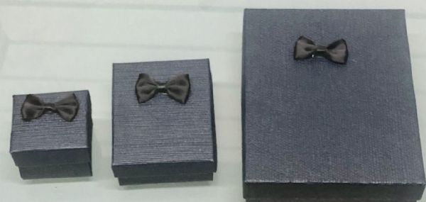 Dark Blue Tertured Jewellery boxes with bows